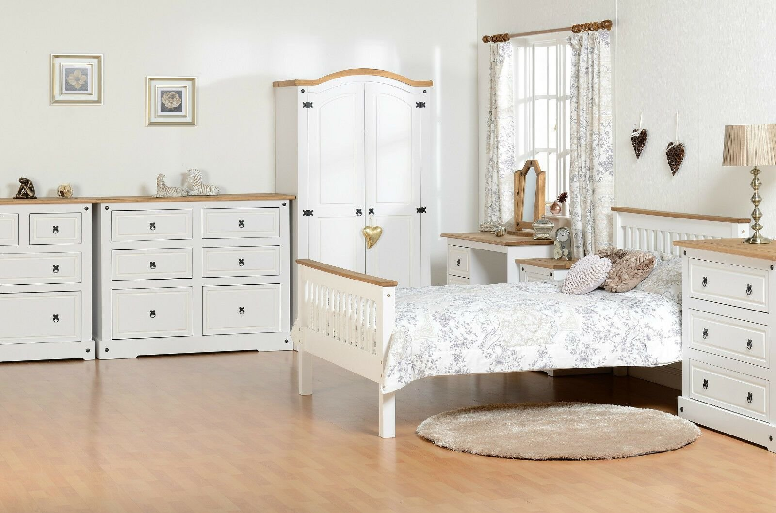 Best Corona White Farm House Bedroom Furniture Wardrobe Chest Dressing Table Beds Ebay With Pictures