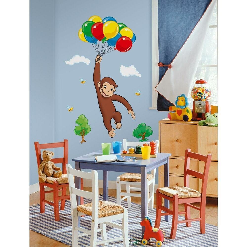 Best Curious George Giant Wall Decals New Kids Room Stickers Decorations Monkey Decor Ebay With Pictures