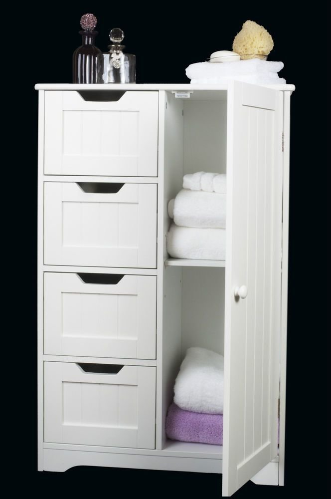 Best White Wooden Storage Cabinet With Drawers And Door With Pictures