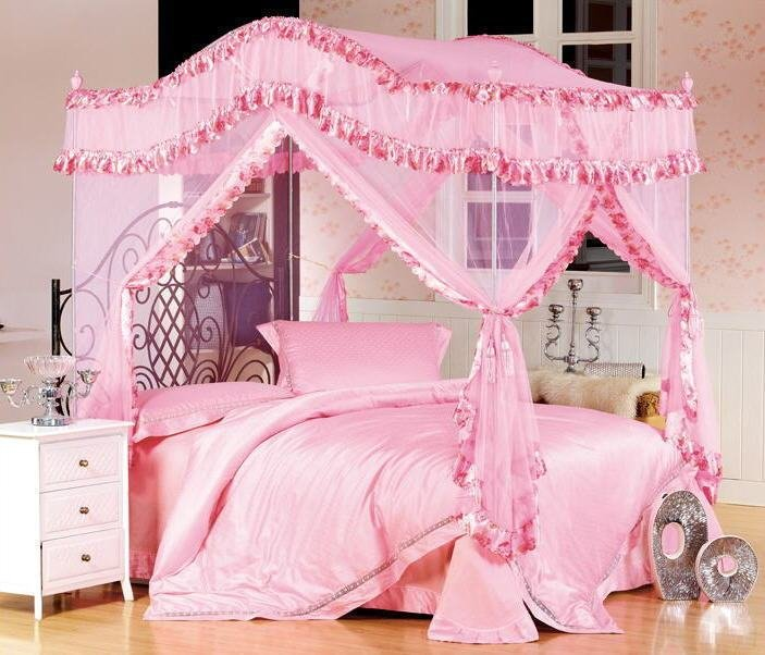 Best Canopy Mosquito Net With Canopy Rods Poles Set Pink Fits With Pictures