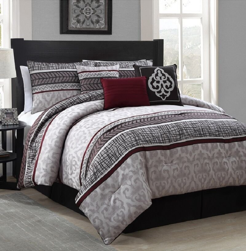 Best New Luxurious 7 Piece King Size Bed Comforter Set Bedroom Bedding Red Gray Ebay With Pictures
