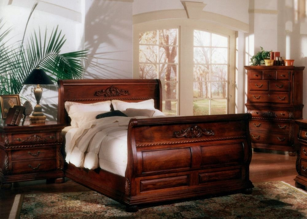 Best 5 Pc King Bed Hand Carved Solid Mahogany Wood Sleigh With Pictures