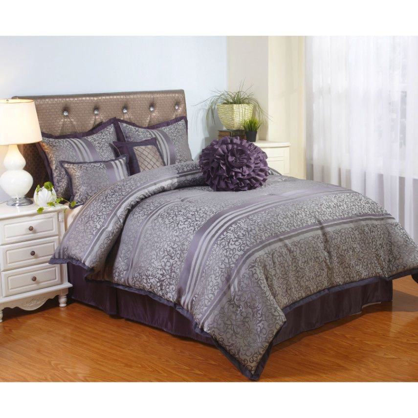 Best Queen Size Bedding 7 Piece Comforter Set Purple Shames Bed With Pictures