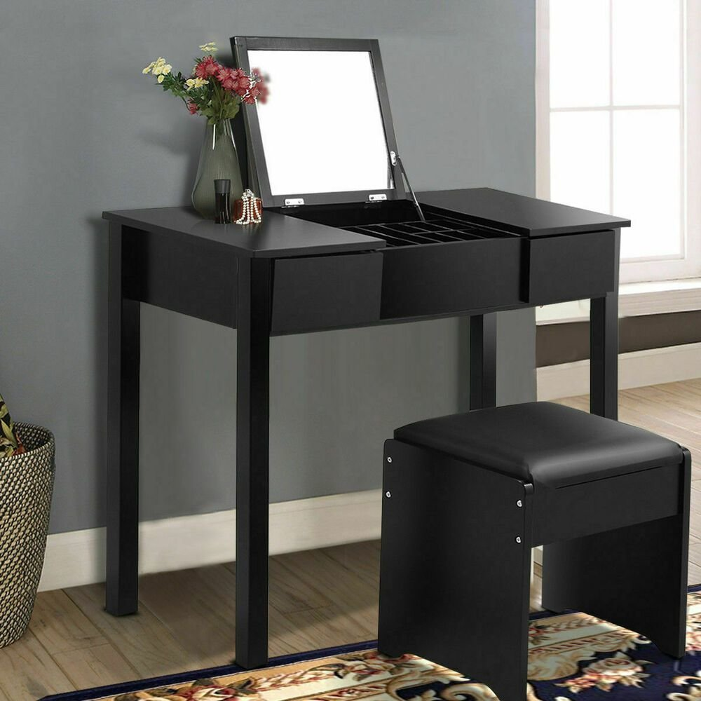 Best Black Vanity Dressing Table Set Mirrored Bedroom Furniture With Pictures