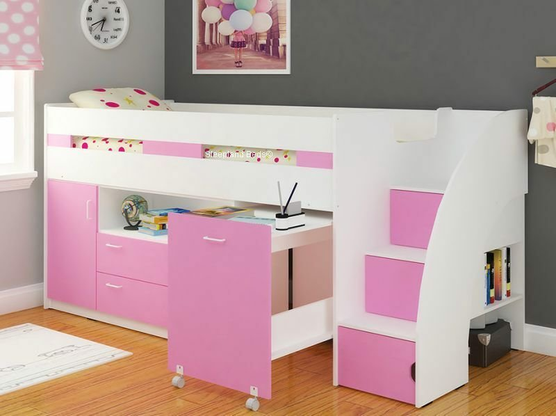 Best Pink White Single Childrens Supreme Midsleeper Storage With Pictures