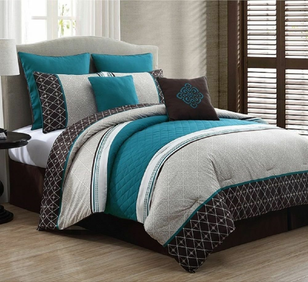 Best New Beautiful Luxurious Queen Size Bed 8 Piece Comforter With Pictures