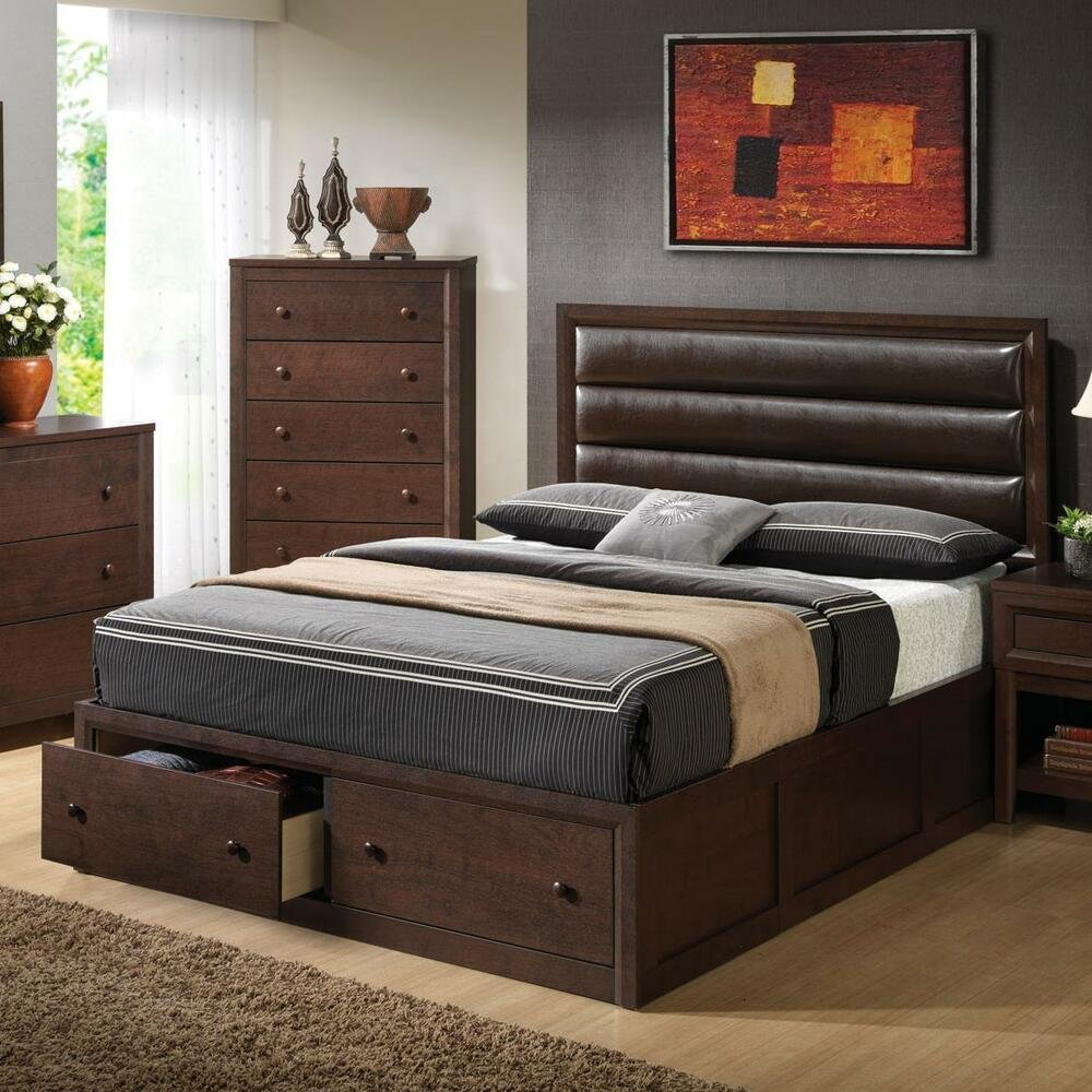 Best Leather Like Pillow Back King Platform Storage Bed Bedroom With Pictures