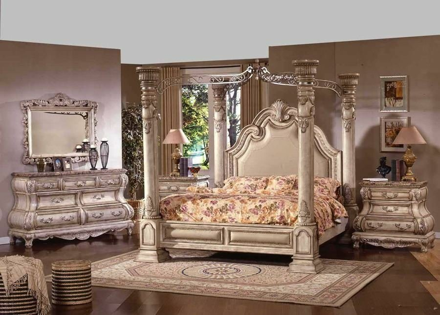Best Antique White Master Bedroom Set Huge Column 4 Post With Pictures