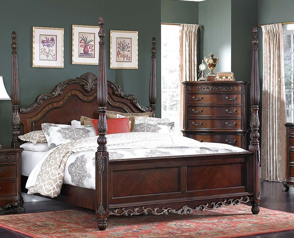 Best Beautiful Burl Inlay 4 Poster King Bed Bedroom Furniture With Pictures