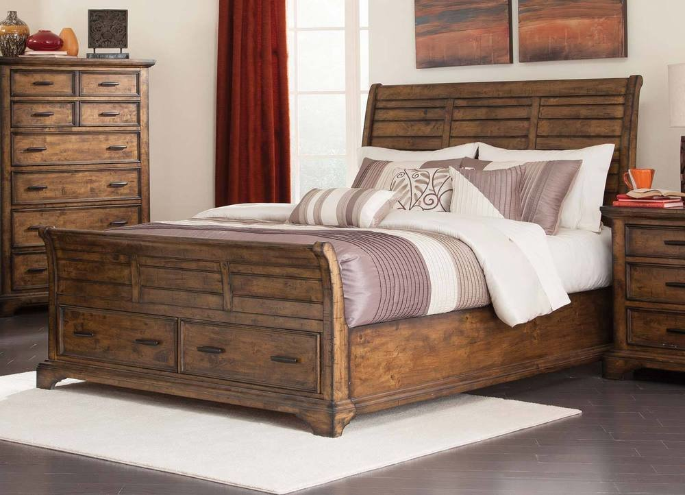 Best Rustic Slatted Planks Queen Footboard Storage Bed Bedroom With Pictures
