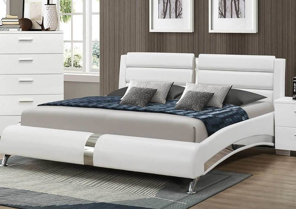Best Sleek Modern White Leatherette King Bed Bedroom Furniture Ebay With Pictures