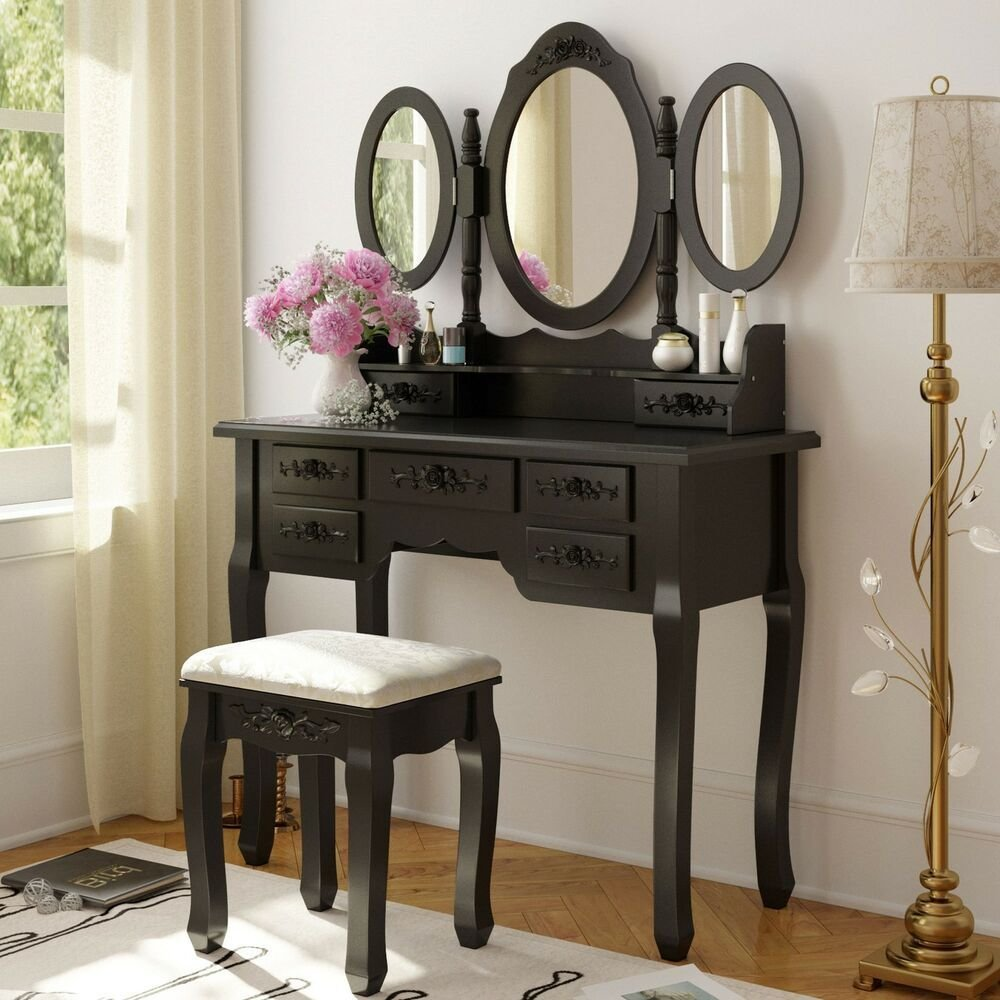 Best Black Wood Makeup Vanity Table Set Mirror Stool Dressing With Pictures