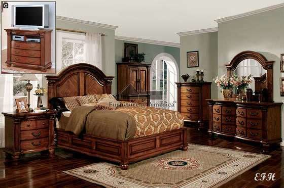 Best New 4Pc Bellagrand Formal Tobacco Oak Wood Low Profile With Pictures