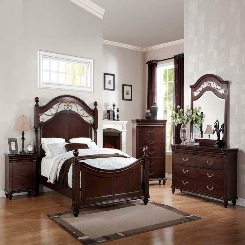 Best Cleveland Cherry Formal Traditional Antique Queen Bed 4Pcs With Pictures