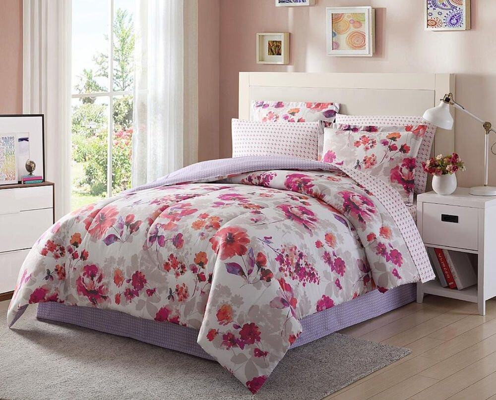 Best Light Dark Purple Pink White Floral 8 Piece Comforter With Pictures