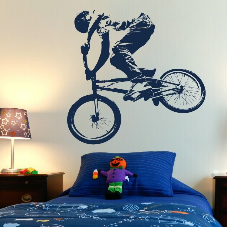 Best Bmx Push Bike Pushbike Boys Bedroom Wall Art Stickers Kids Childrens Decals N35 Ebay With Pictures