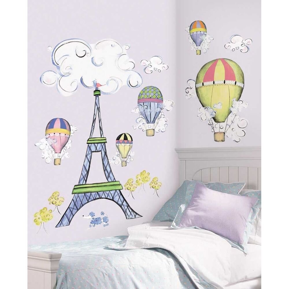 Best New Giant Eiffel Tower Wall Decal Mural Hot Air Balloons With Pictures