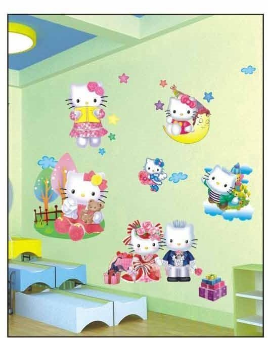Best Large Hello Kitty 3D Wall Stickers For Kids Girls Bedroom Wall Arts Decals Ebay With Pictures