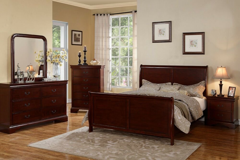Best Traditional Style Cherry Wood Beds Dresser Queen King Bedroom Furniture 5 Pc Set Ebay With Pictures
