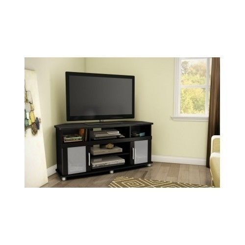 Best Corner Tv Stand Black Flat Screen Storage Compartments With Pictures