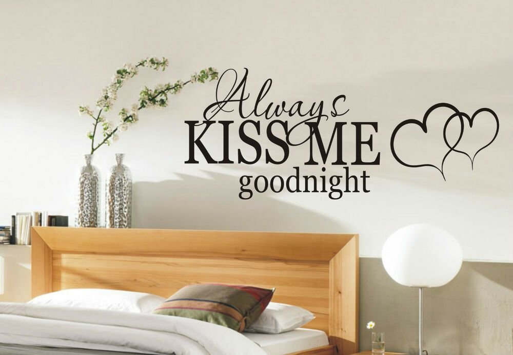 Best Always Kiss Me Goodnight Wall Sticker Quote Bedroom Wall Stickers 002 Decal Ebay With Pictures