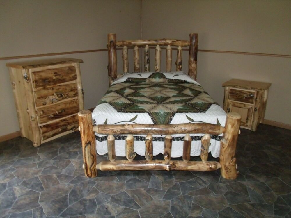 Best Rustic Aspen Log Bedroom Set King Complete Bed 4 Drawer With Pictures