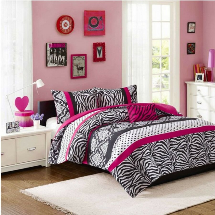 Best Girls T**N Pink Black Damask Dots Zebra Stripe Comforter With Pictures