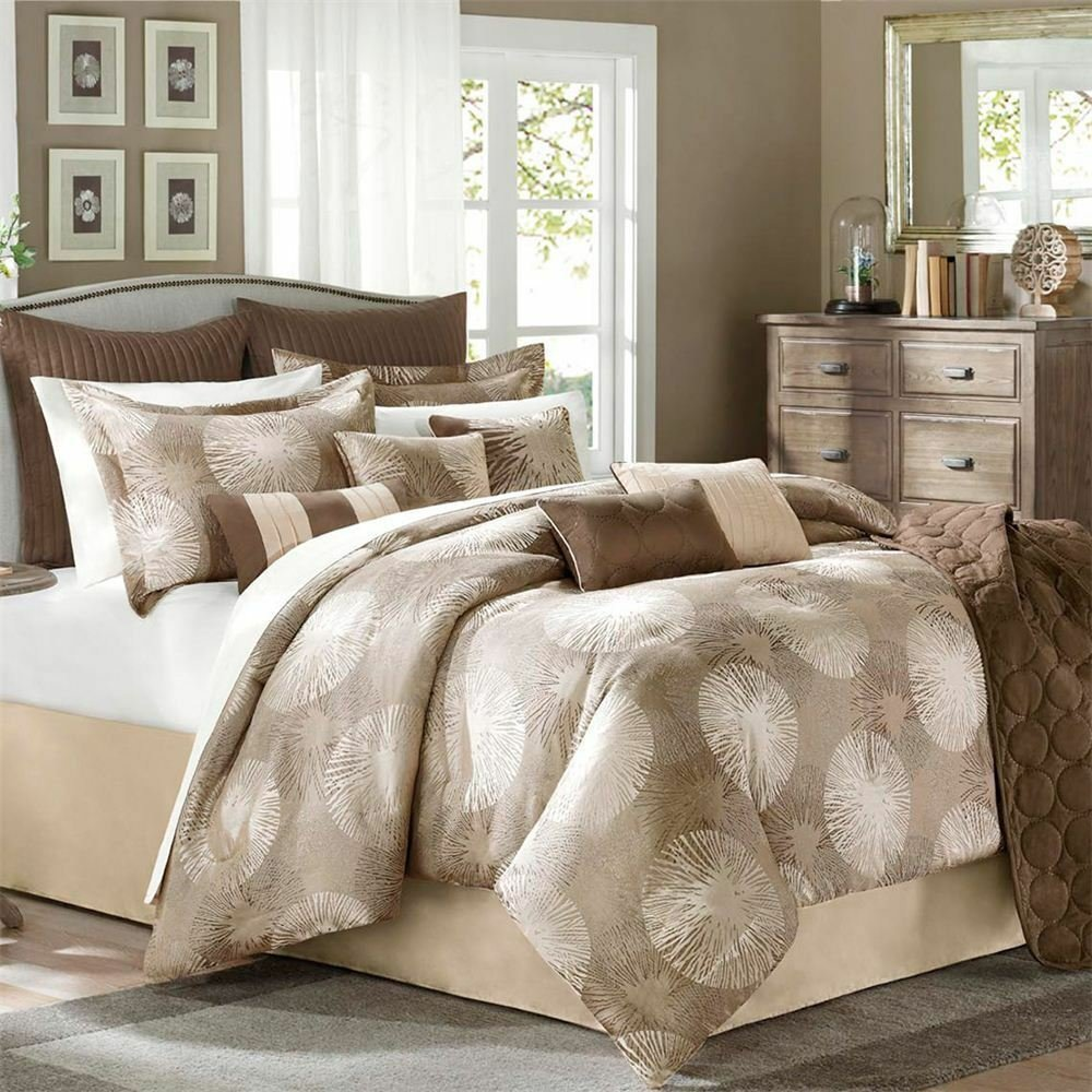 Best Avenue 8 Sloane 9 Piece Queen Comforter Set Brown Tan With Pictures