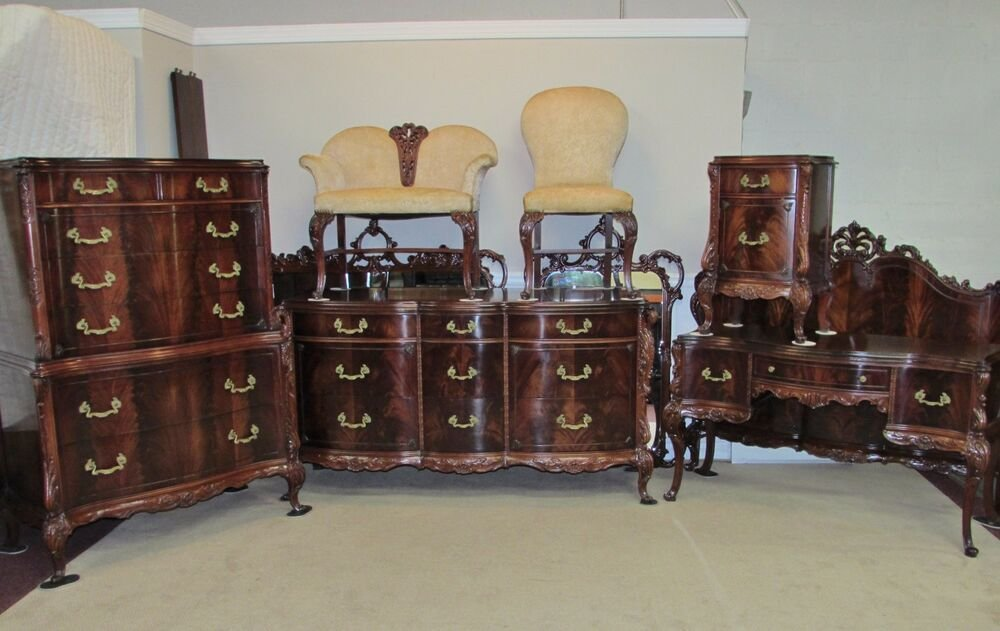 Best Antique Vintage Flame Tip Mahogany 9 Piece Bedroom Set With Pictures
