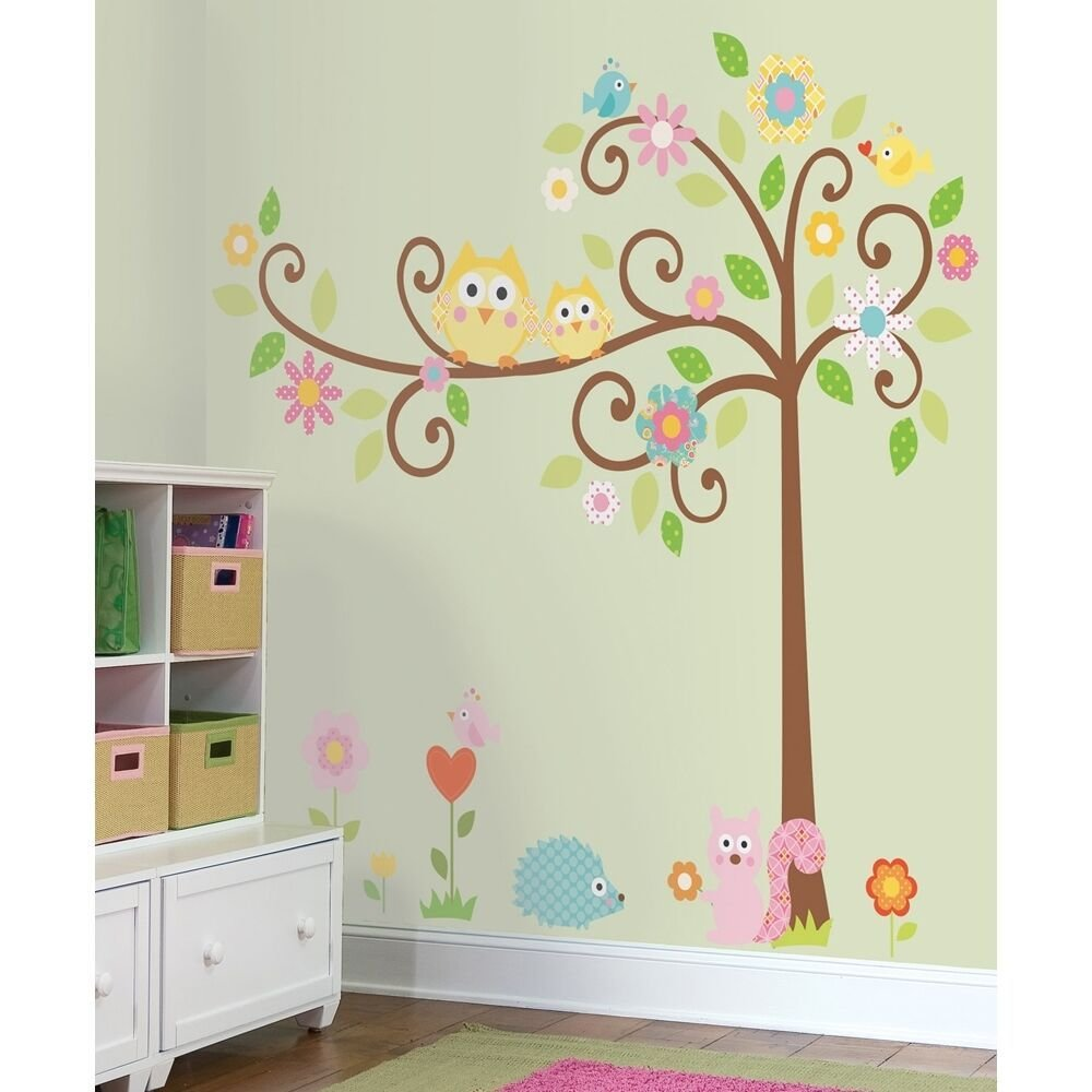 Best New Giant Scroll Tree Wall Decals Baby Nursery Stickers With Pictures