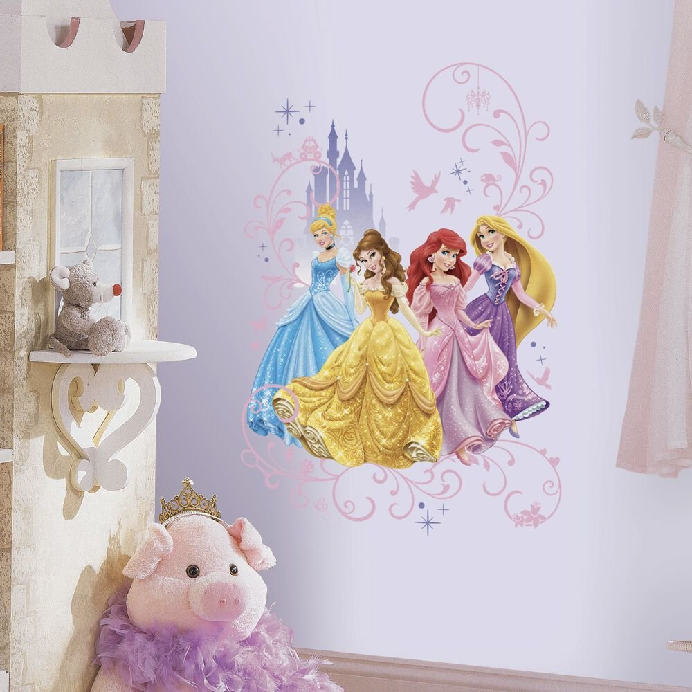 Best Disney Princesses With Castle Wall Decals Princess Cinderella Rapunzel Stickers Ebay With Pictures