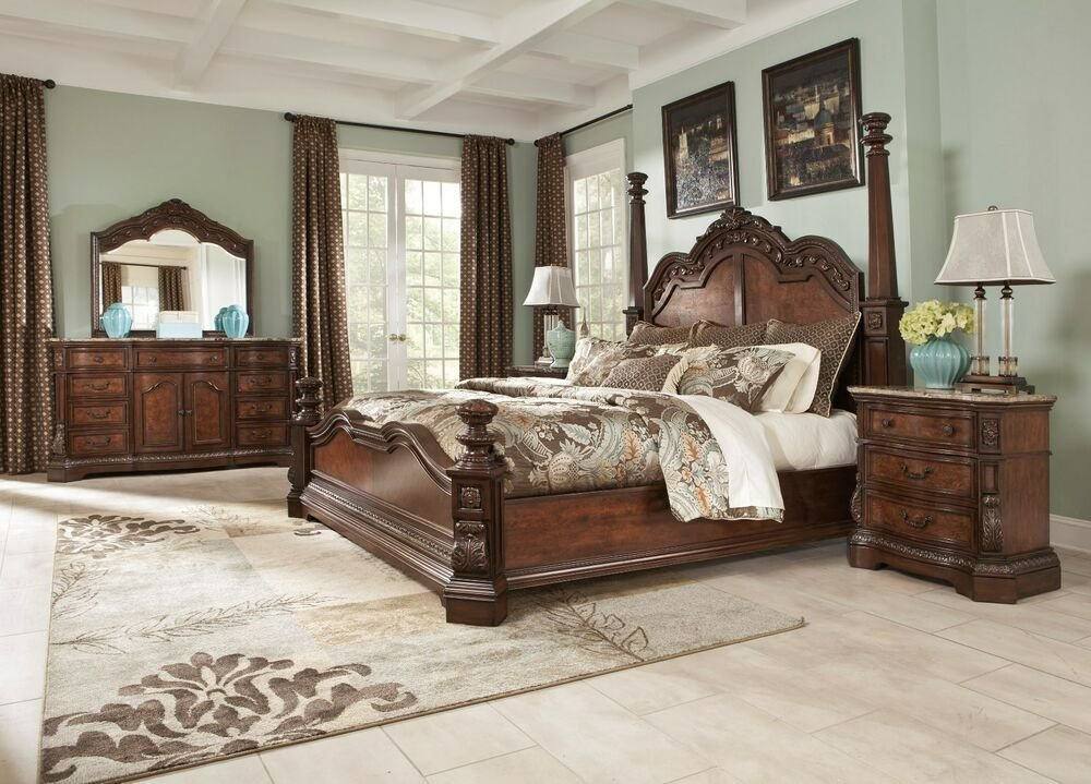 Best Ashley Ledelle Poster 6 Piece Bed Set Dark Cherry Stain With Pictures