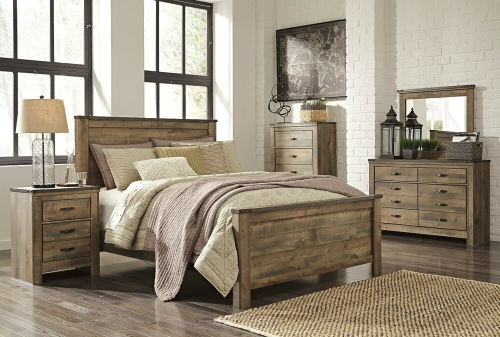 Best Ashley Trinell Queen Rustic 6 Piece Bed Set Furniture B446 Ebay With Pictures