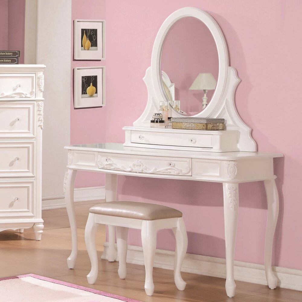 Best Fabulous White Vanity Dressing Table Stool Bedroom With Pictures