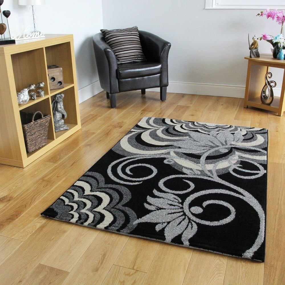 Best Black Small Large Rugs Floral Modern Rugs Easy Clean Soft With Pictures