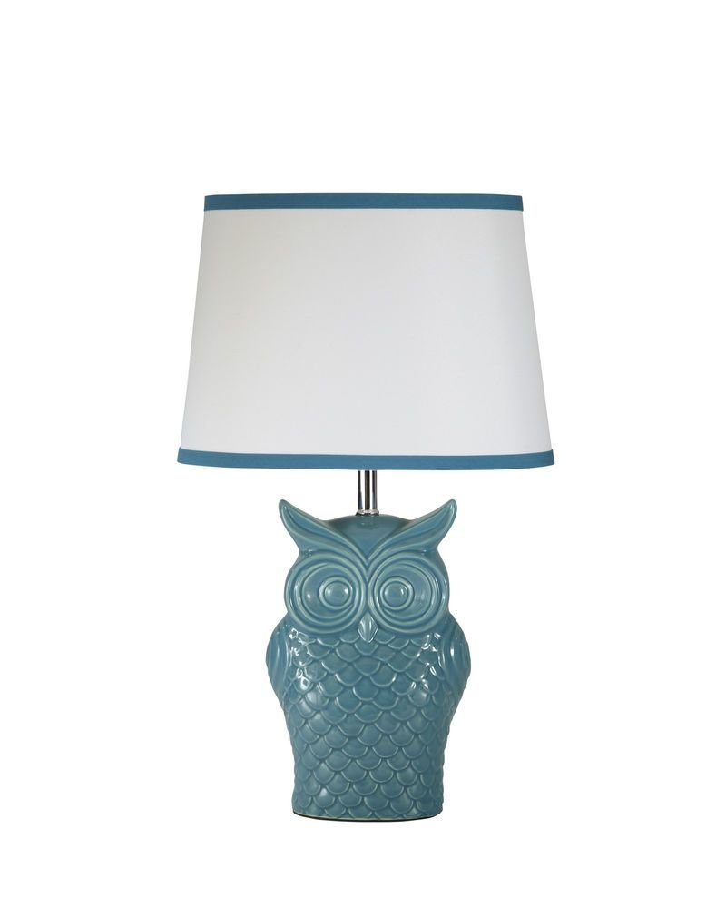 Best Diya Vintage Blue Ceramic Accent Table Lamp Owl Motif With Pictures