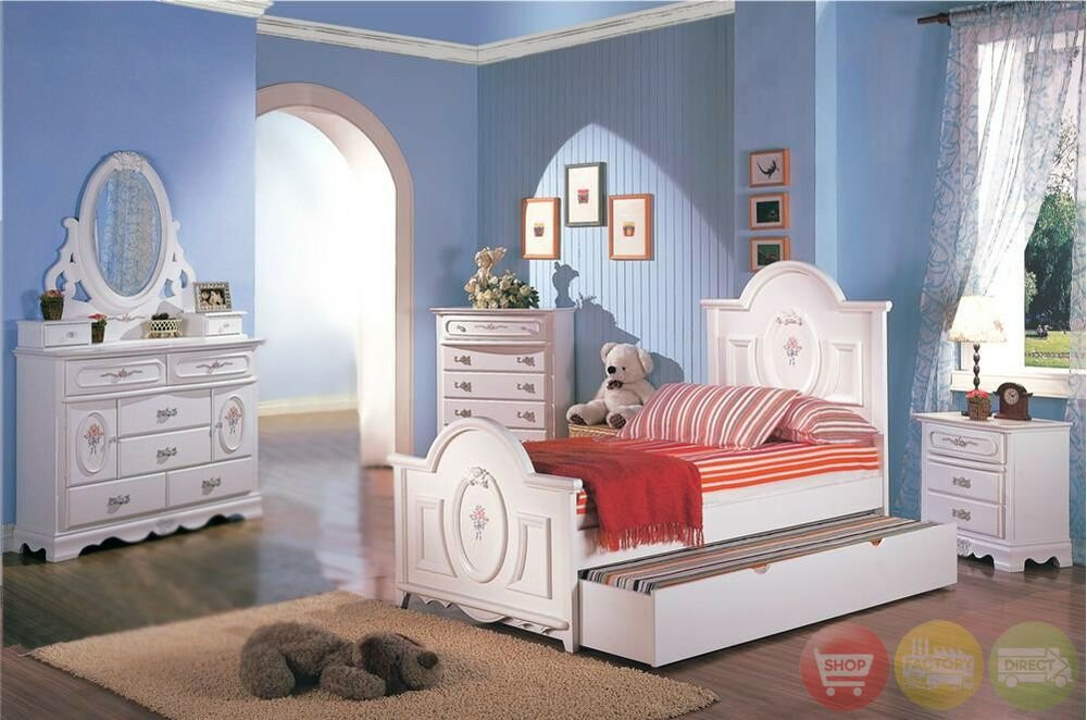 Best White Wood Girls Twin Bed Kids 4 Piece Bedroom Furniture With Pictures