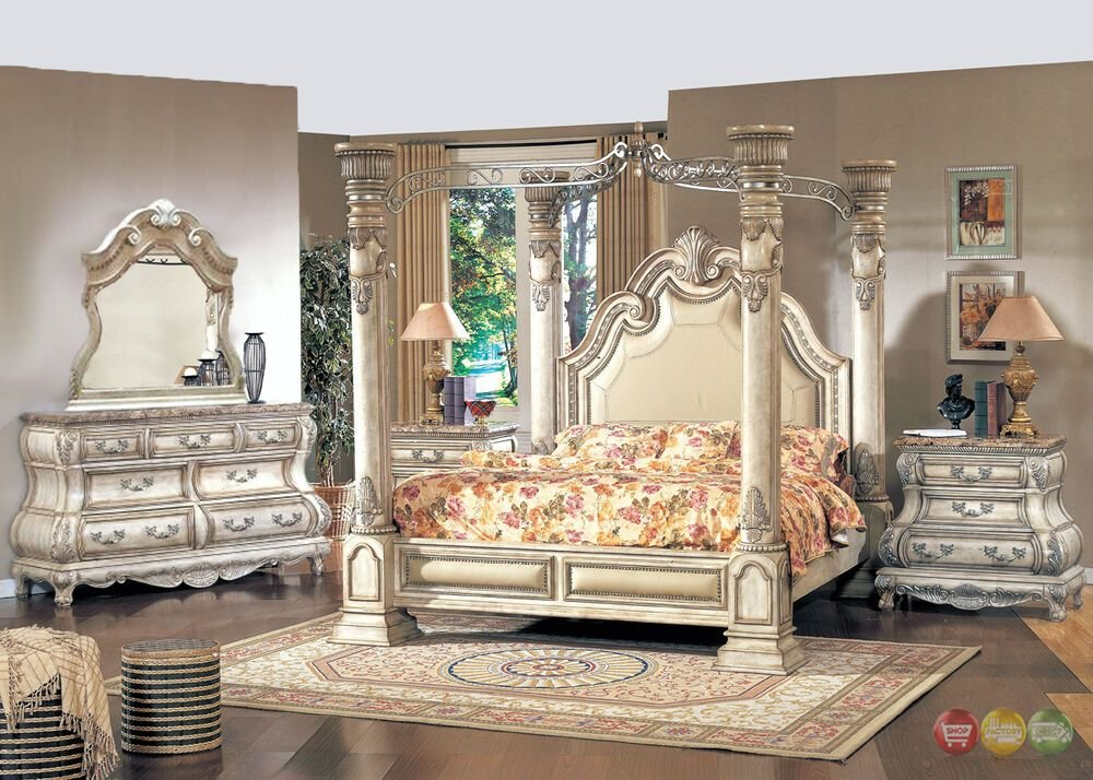 Best King Traditional Poster Canopy Bed W Leather 5 Piece With Pictures