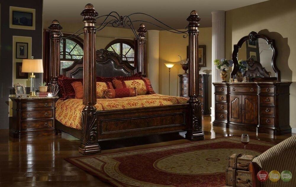 Best Traditional Queen Poster Canopy Leather Bed 5 Piece Bedroom Set Marble Tops New Ebay With Pictures