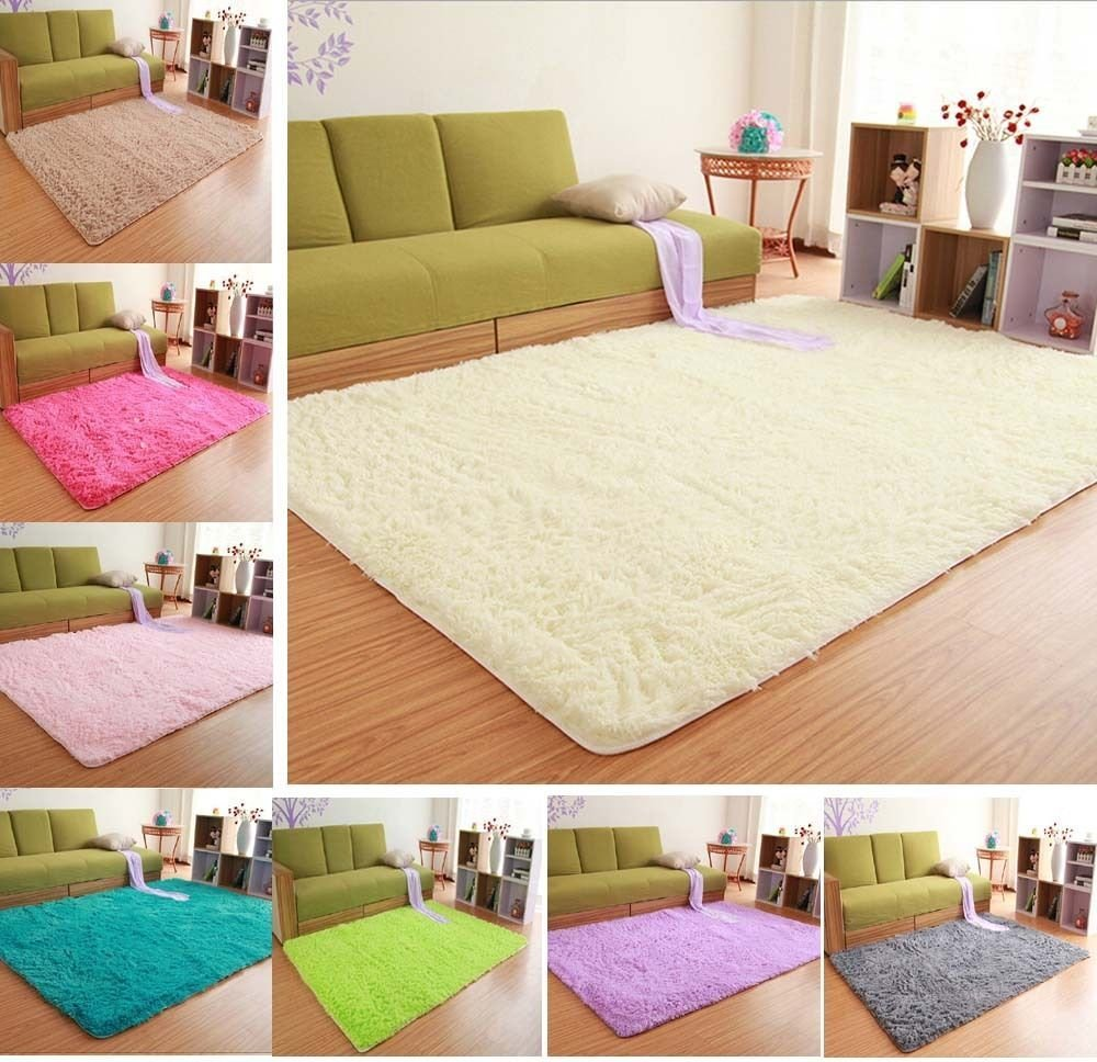 Best Solid Small Large Size Fluffy Anti Skid Shaggy Area Rug Carpet Mat Bedroom Rugs Ebay With Pictures