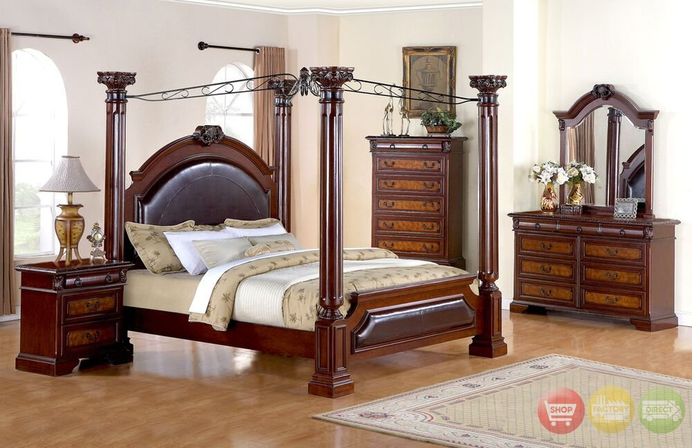 Best Neo Renaissance Luxury Queen Poster Canopy Bed Bedroom Furniture Set Ebay With Pictures