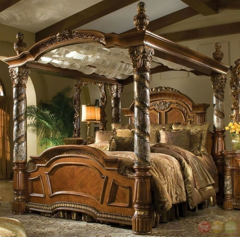 Best Villa Valencia Luxury King Poster Canopy Bed W Marble With Pictures