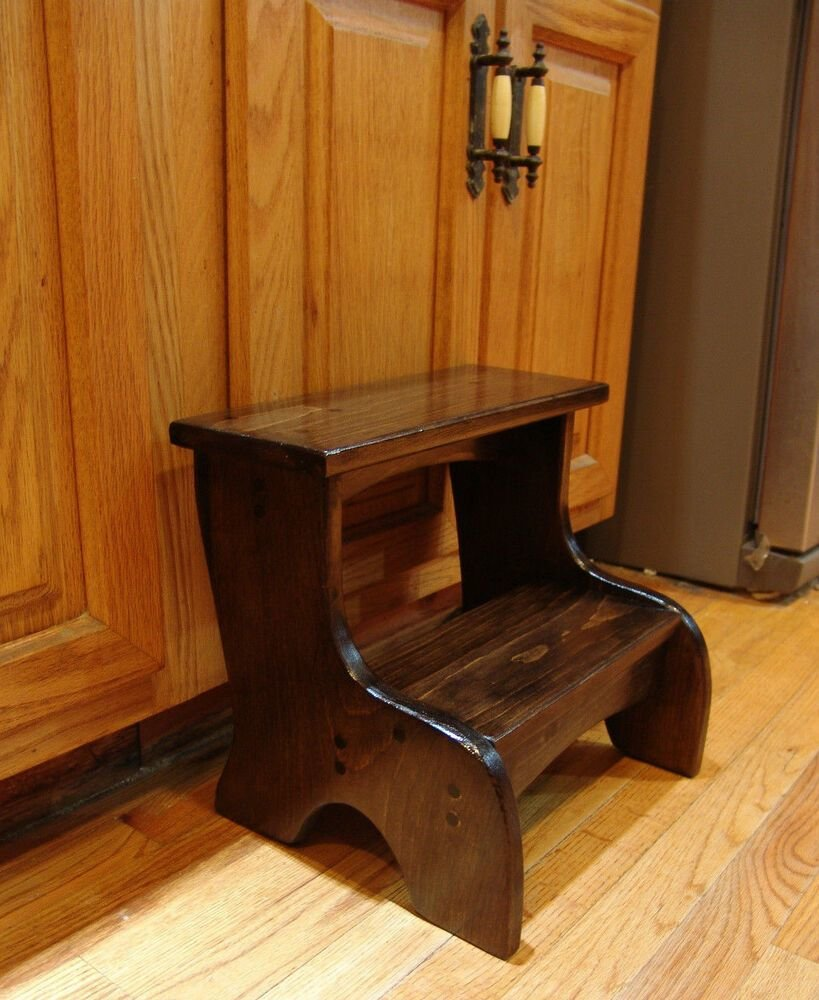 Best Handcrafted Heavy Duty Step Stool Wooden Bedside Bedroom Kitchen Kids D Walnut Ebay With Pictures