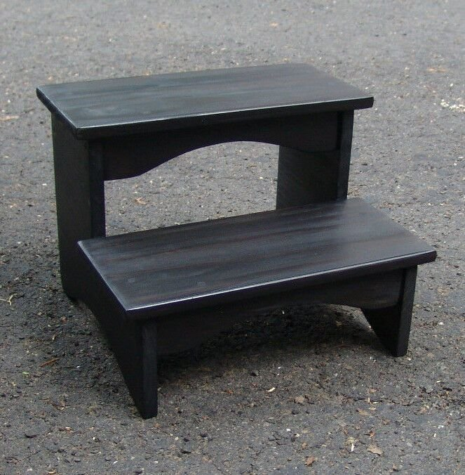 Best Handcrafted Heavy Duty Step Stool Wood Bedside Bedroom Kitchen Kids Black Ebay With Pictures