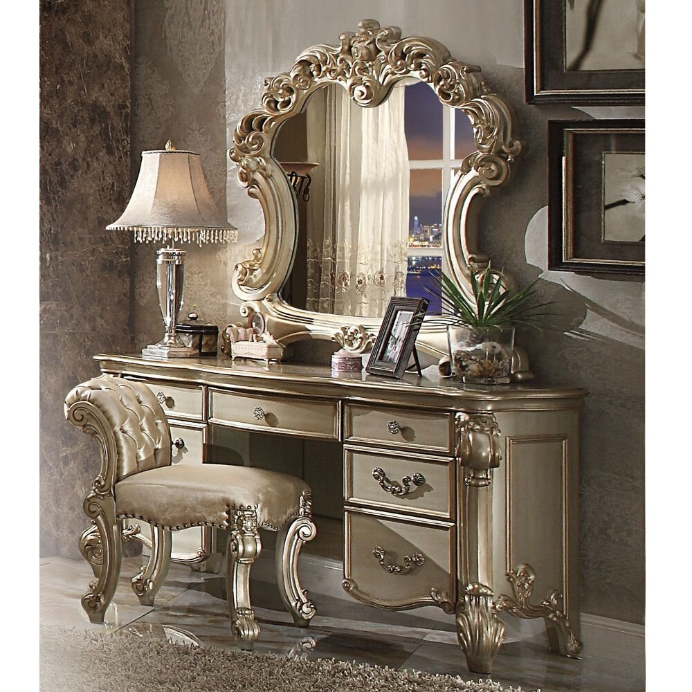 Best Vendome Bedroom Luxury Vanity Table Makeup Desk Mirror With Pictures