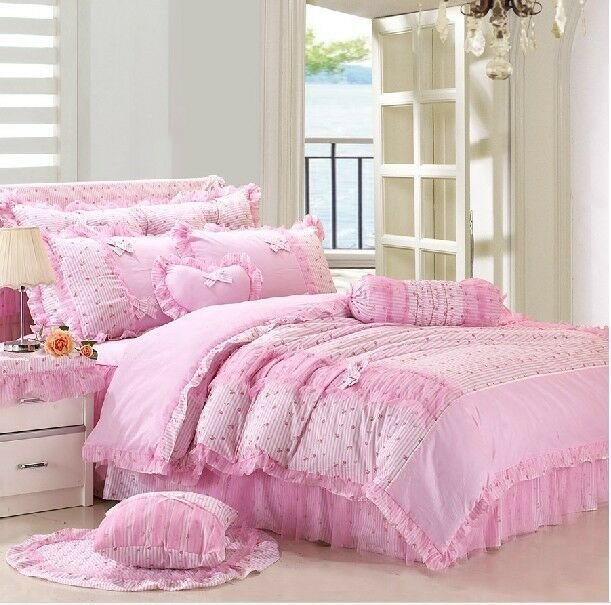 Best Pink Girls Lace Tulle Frilly Full Queen Size Duvet Cover With Pictures