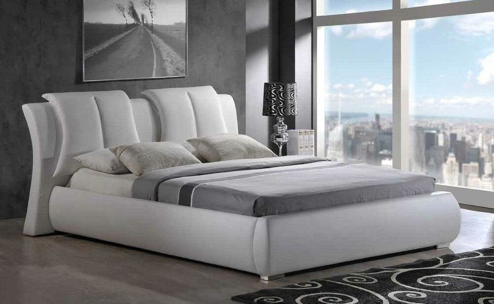 Best Artur King Size 8269 W Modern Style Leather White Platform With Pictures