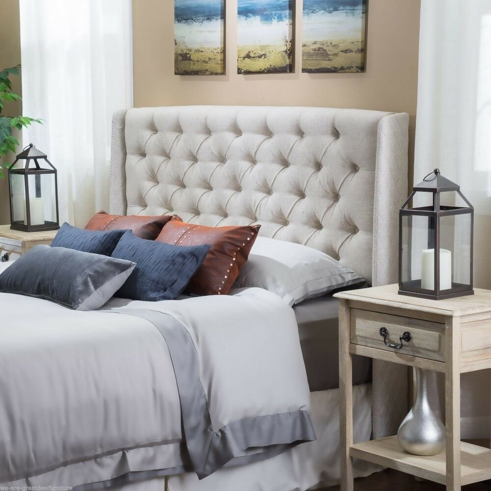Best Bedroom Furniture Queen Full Size Bed Wingback Beige With Pictures