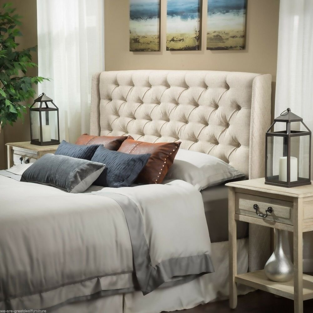 Best Bedroom Furniture Queen Full Size Bed Wingback Eggshell Tufted Fabric Headboard Ebay With Pictures