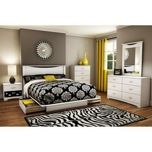 Best 4 Piece White Queen Full Bedroom Furniture Set Bed Storage Dresser Nightstand Ebay With Pictures